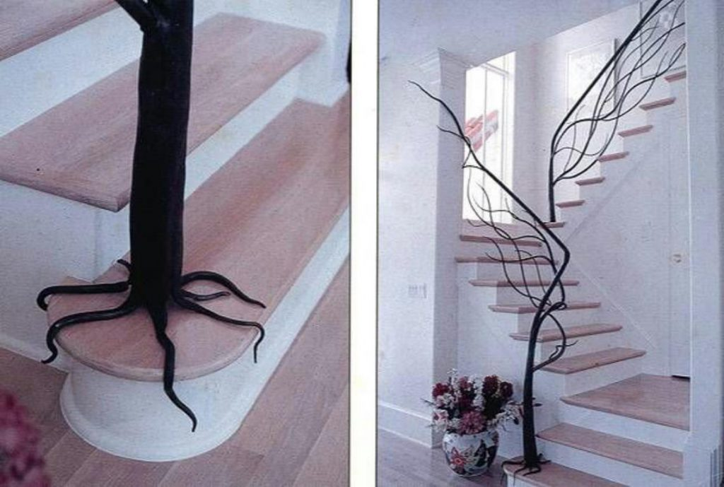 نرده راه پله با طرح ریشه درخت
